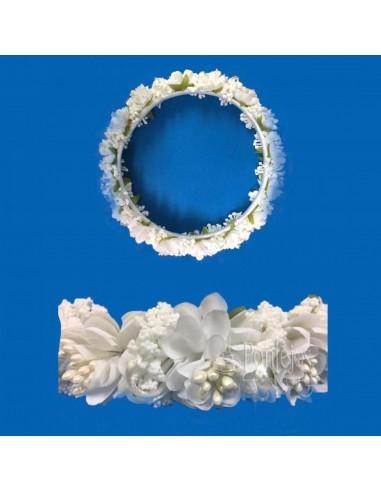 Corona candela de flores