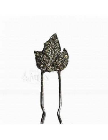 Horquilla hojas cristal 006